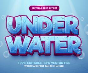 Editable text effect under water 3d template vector
