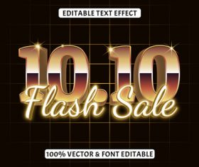 Editable time effect retro style vector