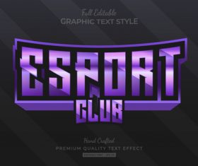 Esport club editable text style vector