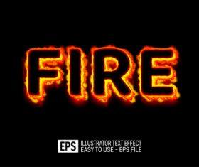 FIRE text effect vector