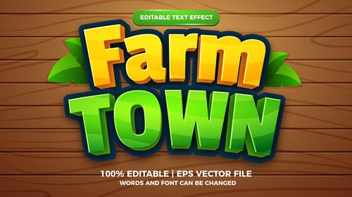 Farm town cartoon comic game editable text effect vector