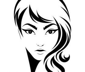 Female big wavy hairstyle vector