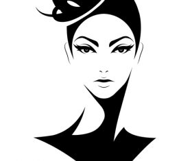 Female hairstyle vector decorated with top hat