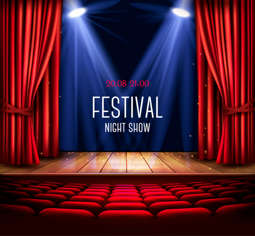Festival background with red curtain and light vector