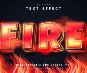 Fire editable text effect vector