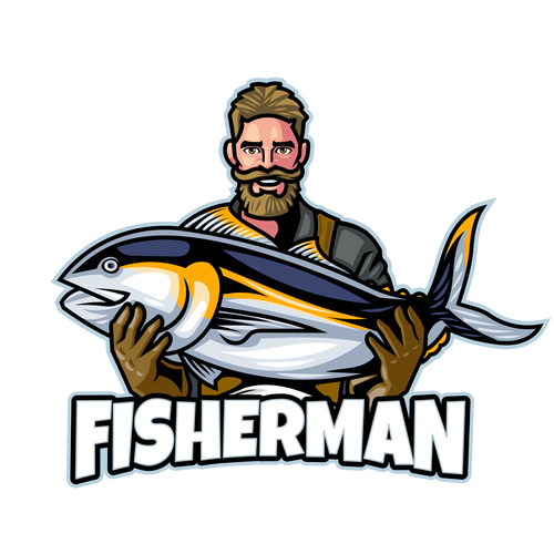 Fisherman Logo design template vector