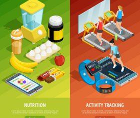 Fitness and nutrition cartoon illustration vector