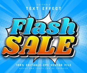 Flash sale comic style text effect editable vector