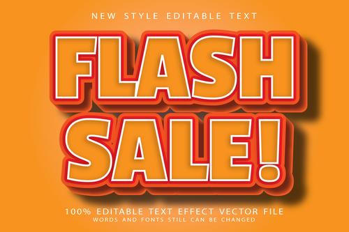 Flash sale editable text effect vector