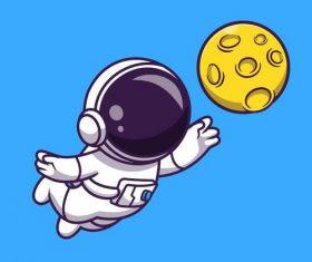 Flying astronaut cartoon illustration vector
