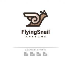 Flying snail logo vector