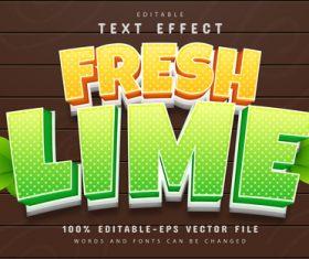 Fresh lime text cartoon style text effect editable vector