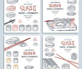 Fresh seafood sushi taste illustration vector