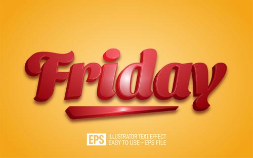 Friday editable style effect template vector
