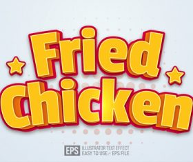 Fried Chicken text editable illustrator text effect