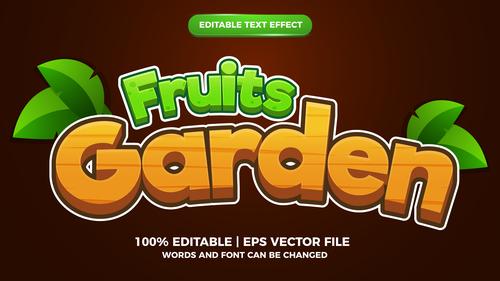 Fruits garden cartoon style 3d template vector