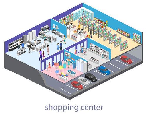 Functionalized supermarket interior illustration vector