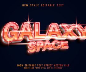 Galaxy space shiny editable text effect style vector