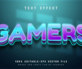 Gamers text shiny gradient text effect editable vector