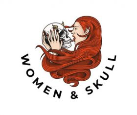 Ginger women skull design vector