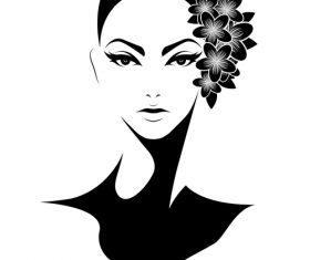 Girl avatar vector with head flower arrangement
