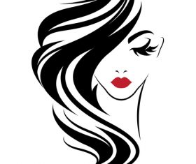 Girl with long hair covering her face vector