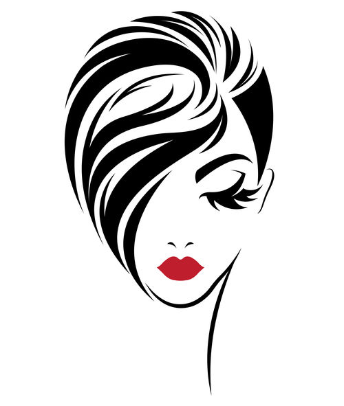Girl with short hair covering face avatar vector