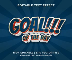 Goal of the day editable text effect vector