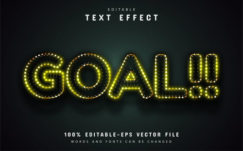 Goal text yellow neon style text effect vector