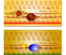 Golden background raksha bandhan banner vector