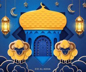 Golden dome mosque background vector