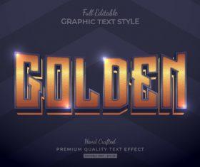 Golden editable text style vector