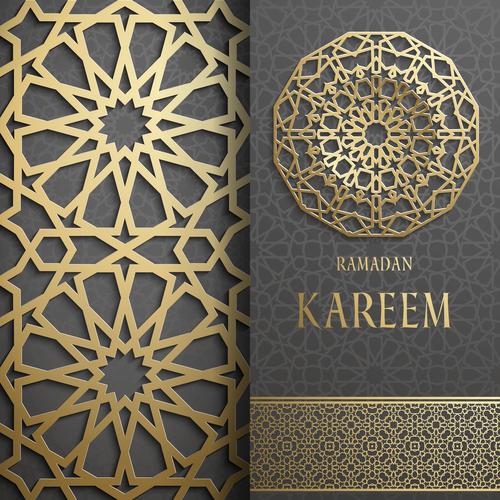 Golden openwork pattern decoration background vector