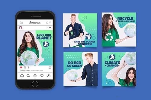 Gradient climate change instagram posts collection vector