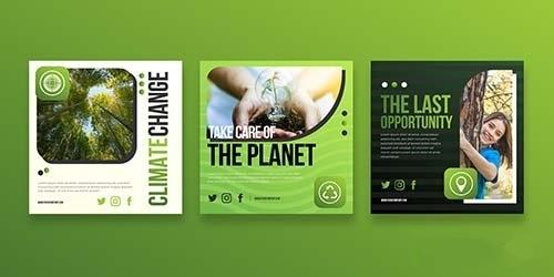 Gradient climate change instagram posts vector
