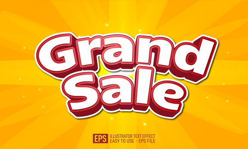 Grand sale text effect vector