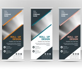 Gray roll up banner vector