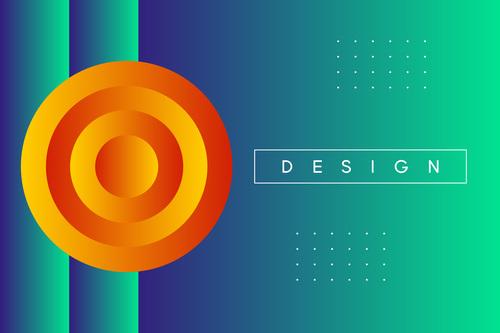 Green background orange circle vector