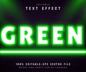 Green text effect neon style vector