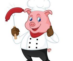 Grilling sausage cartoon illustration vector