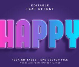 HAPPY text effect editable vector
