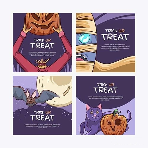 Hand drawn halloween instagram posts collection vector