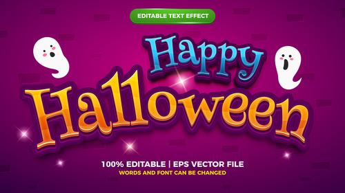 Happy Halloween comic cartoon game template style vector