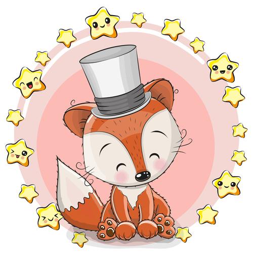 Happy fox illustration birthday card vector