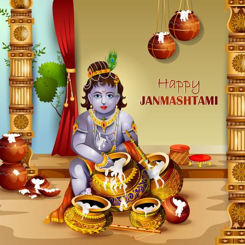 Happy janmashtami illustration vector