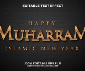 Happy muharram islamic new year editable text style vector