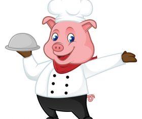 Happy pig waiter cartoon illustration vector