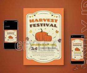 Harvest festival flyer set vector