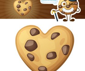 Heart shaped chocolate chip cookie vector