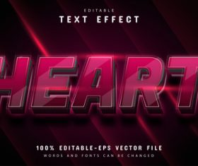 Heart text editable 3d text effect vector